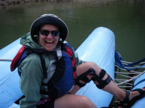 Rafting with Knee Brace