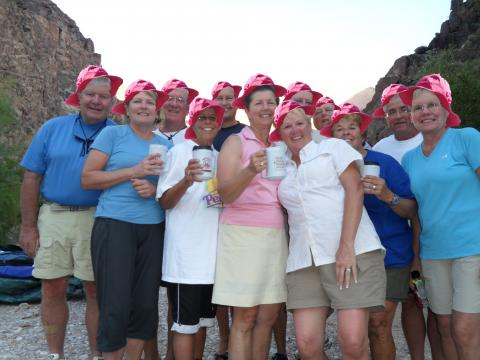 Group Rafting Trips - Pink hats in Grand Canyon