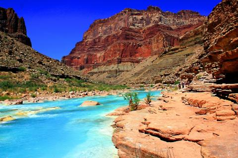 The Beautiful Turquoise Blue Waters Of The Little Colorado