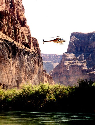 Helicopter exit out of Grand Canyon