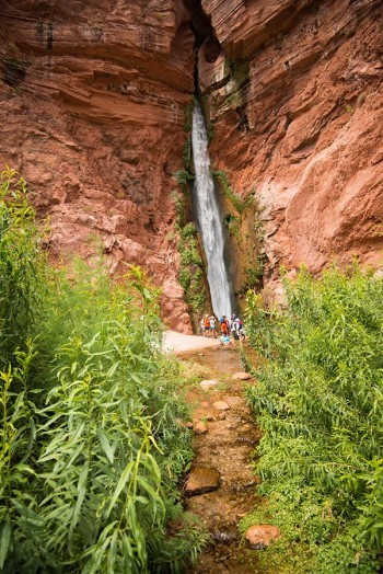 Rafting the Colorado River in the Grand Canyon National Park, Arizona. Guests hiking to Deer Creek Falls.