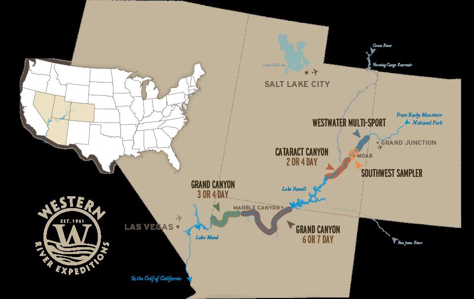 Colorado River Rafting Trips - Colorado river map world atlas