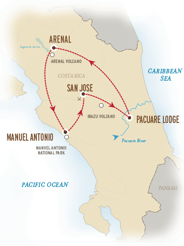 Costa Rica Vacation Package Map