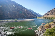 Flotilla of rafts on the Snake River