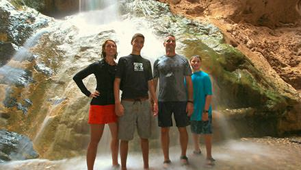 Family enjoying Travertine Falls